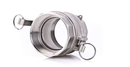 pipe fitting: Abstract Photo of a Stainless Steel Threaded Pipe fitting Stock Photo
