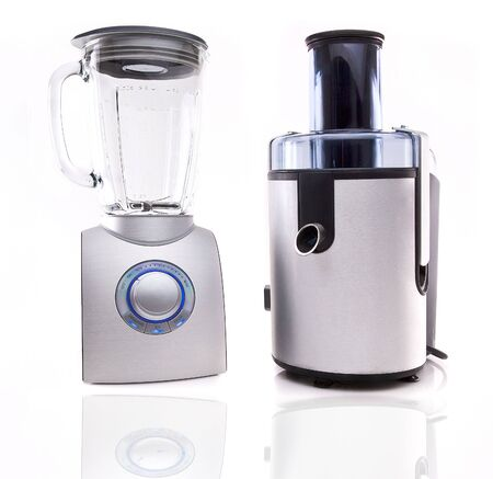 Modern juice extractor and Blender isolated on a white background. Zdjęcie Seryjne - 8052135