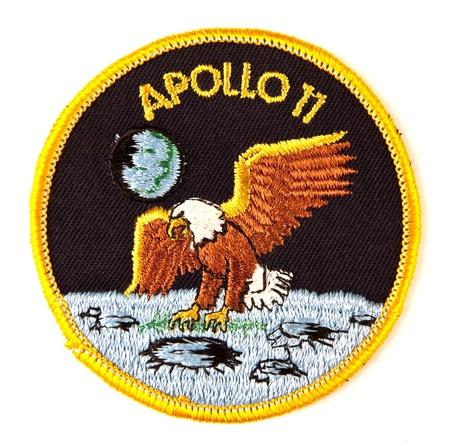 Apollo 11 badges fonction des missions spatiales sur blanc