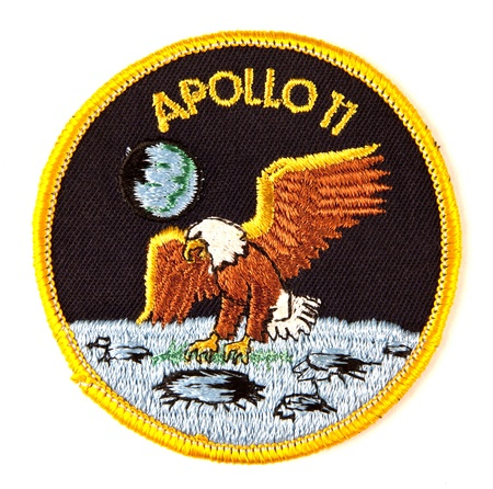 Apollo 11 mission Space suit badge over white Zdjęcie Seryjne - 11064502