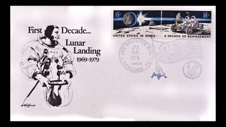 buzz: UNITED STATES: first day issue celebrating the first decade lunar landing, circa 1979 first decade lunar landing