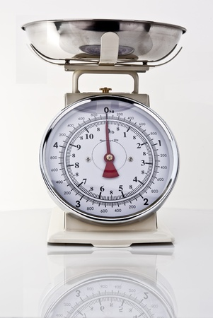kitchen scale: Kitchen Scales on white background with reflection