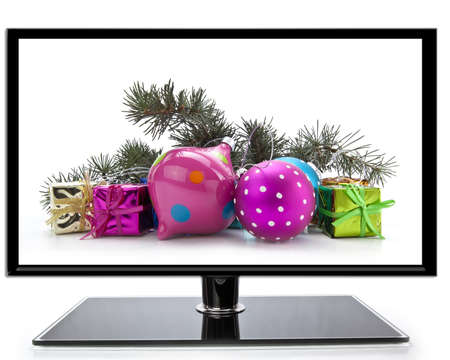 christmas movies: Flat screen TV with Christmas decoration on a white background