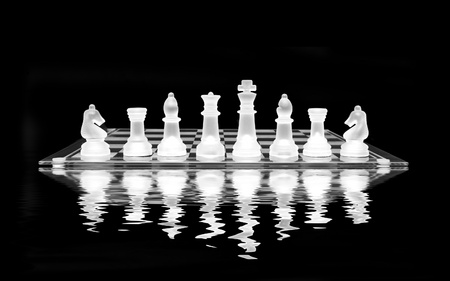 bishop: Chess Set with reflection on black background Stock Photo