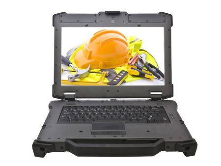 Ruggedized laptop with building tools on screen