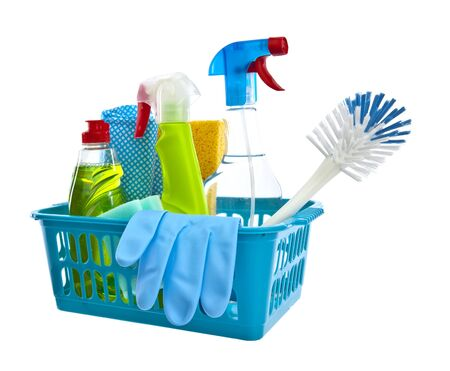 bright housekeeping: Assorted cleaning products on white background