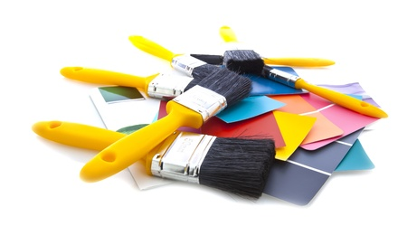 Brushes and paint colour guides Stock Photo - 13532898