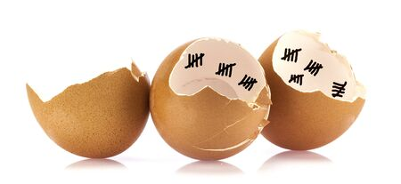 count down: Egg shells with count down marks on white background Stock Photo