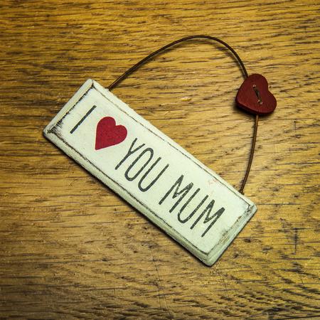 mums:  I love you mum shabby chic hand made sign