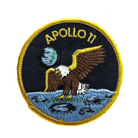 SWINDON, UK - FEBRUARY 23, 2014: Apollo 11 Mission Badge from the first Moon landing in 1969