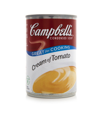 canned goods: SWINDON, UK - FEBRUARY 16, 2014: Campbells Tomato Soup. Campbells is an american producer of canned soups and related products, founded in 1869