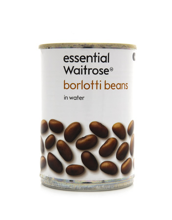 borlotti beans: SWINDON, UK - FEBRUARY 1, 2014: Can Of Waitrose Borlotti Beans on a white background Editorial