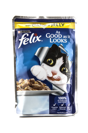 packshot: SWINDON, UK - FEBRUARY 1, 2014: Felix Chicken in Jelly Cat food by PURINA on a white background