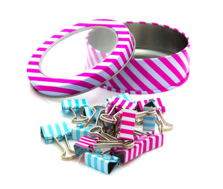 foldback: Stripey Tin wth foldback cilps of a white baground