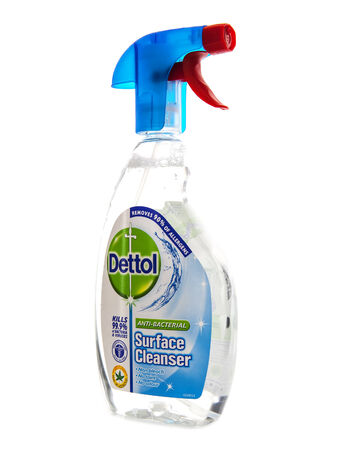 Antibacterial: SWINDON, UK - FEBRUARY 1, 2014: Dettol Anti-Bacterial Spray on a white background Editorial