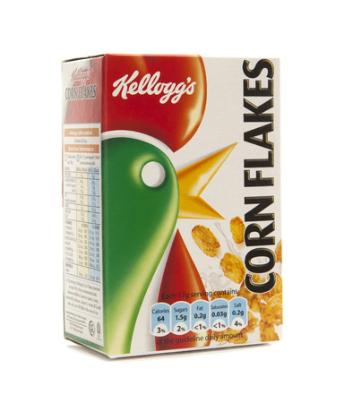 SWINDON, UK - FEBRUARY 11, 2014: Kelloggs Corn Flakes on a white background Publikacyjne