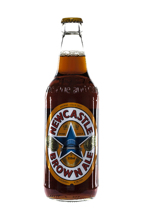 brown bottle: SWINDON, UK - FEBRUARY 23, 2014: Bottle of Newcastle Brown Ale on awhite background Editorial
