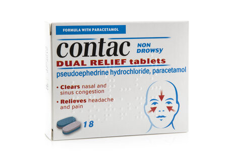 SWINDON, UK - FEBRUARY 1, 2014: Pack Of Contac Dual Relief Tablets on a whiite background