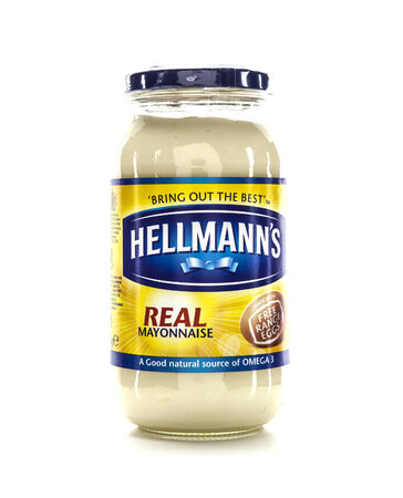 packshot: SWINDON, UK - FEBRUARY 1, 2014: Jar of Hellmanns Mayonnaise on a white background Editorial