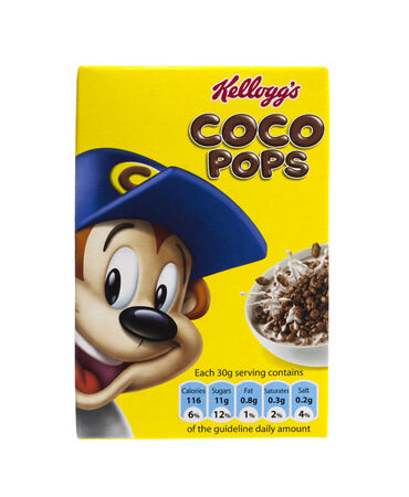 cereal box: SWINDON, UK - FEBRUARY 11, 2014: Kelloggs coco pops cerial on a white background
