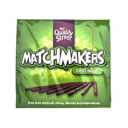 minted: SWINDON, UK - FEBRUARY 1, 2014: Matchmakers cool mint chocolates on a white background, Matchmakers are made by Nestle.