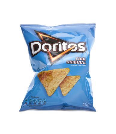 SWINDON, UK - FEBRUARY 15, 2014: Packet of Doritos corn chips on a white  background.  Zdjęcie Seryjne - 26842967