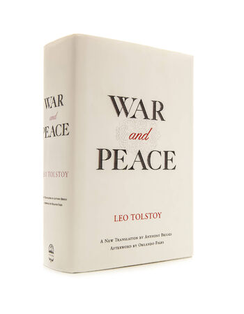 SWINDON, UK - FEBRUARY 1, 2014: War & Peace by Leo Tolstoy - Translation by Anthony Briggs on a white background