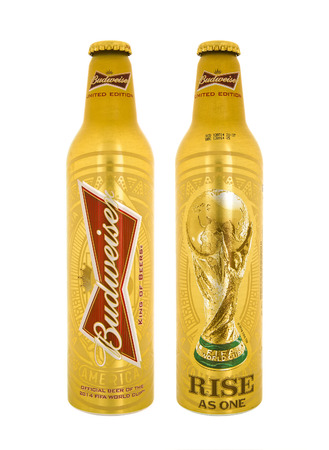 budweiser: SWINDON, UK - MAY 3, 2014: Bottle of Limited Edition Budweiser beer made for the 2014 FIFA Football World Cup on a white background.