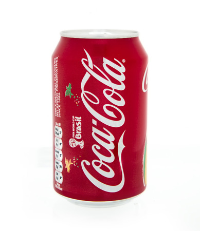 produced: SWINDON, UK - MAy 10, 2014: Can of Coca-Cola on a white background produced for the 2014 FIFA World Cup in Brasil