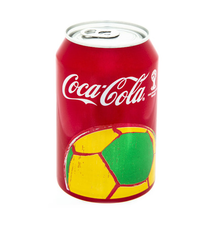 SWINDON, UK - MAy 10, 2014: Can of Coca-Cola on a white background produced for the 2014 FIFA World Cup in Brasil