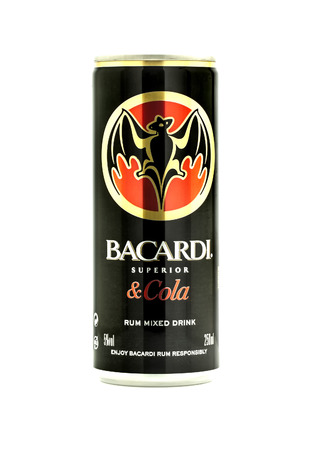 bacardi: SWINDON, UK - MARCH 15, 2014: Can Of Bacardi and Cola mixer drink on a white background