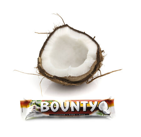 SWINDON, UK - MARCH 15, 2014: Bounty Chocolate and Coconut bar on a white background