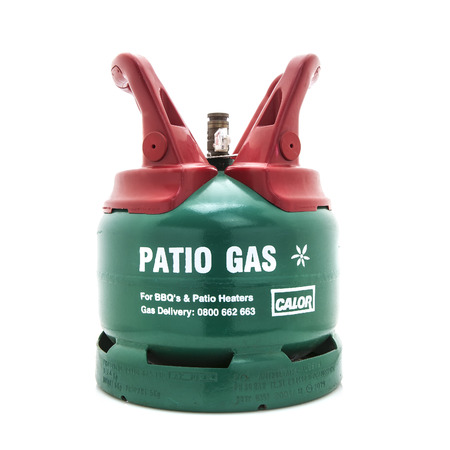 SWINDON, UK - MARCH 30, 2014: Calor Patio Gas Bottle on a wite background