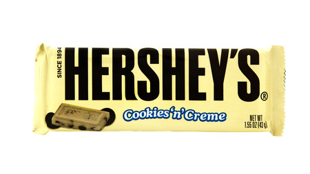SWINDON, UK - MARCH 2, 2014:  Bar of Hersheys Cookies n Creme Chocolate