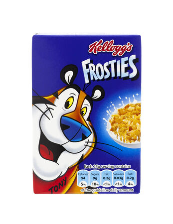 cereal box: SWINDON, UK - MARCH 1, 2014: Kelloggs Frosties on a white background Editorial