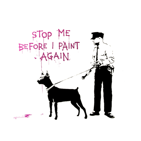 BRISTOL, UK - MARCH 15, 2014: Banksy Graffiti Stencil