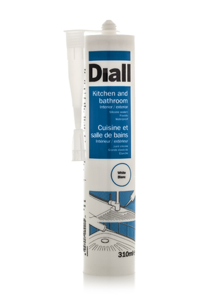 SWINDON, UK - MARCH 23, 2014: Tube of Diall White Silicon Sealent on a white background