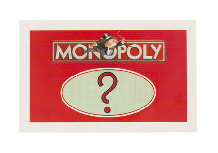 games of chance: SWINDON, UK - JUNE 11, 2014: English Edition of Monopoly showing A Chance Card,  The classic trading game from Parker Brothers was first introduced to America in 1935.