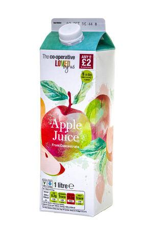 co operative: SWINDON, UK - SEPTEMBER 14, 2014: Carton of Co-Operative Apple Juice on  a White Background Editorial
