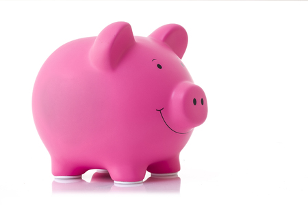 cartoon bank: Pink Piggy Bank on a white Background