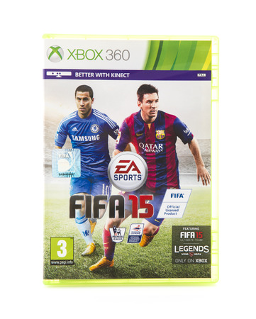 SWINDON, UK - OCTOBER 10, 2014: FIFA 15 for the Xbox 260, FIFA 15 is a very popular Football game from EA Sports. Editorial