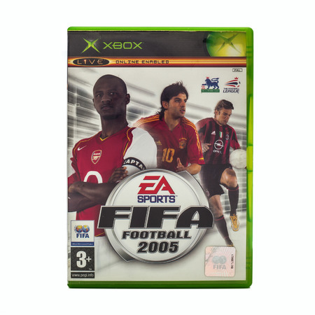xbox: SWINDON, UK - DECEMBER 29, 2014: FIFA 2005 by EA Sports for the XBox console