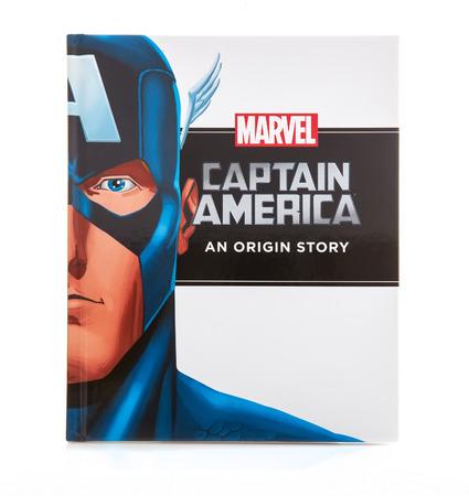 movie poster: SWINDON, UK - DECEMBER 16, 2014:MARVEL Book Captain America an Origin Story on a White background