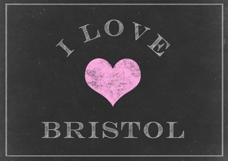bristol: Chalk drawing - I love Bristol sign Stock Photo