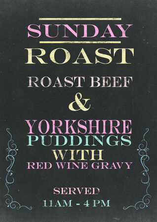 Sunday Roast on Srached Chalkboard
