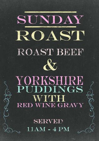 sunday: Sunday Roast on Srached Chalkboard