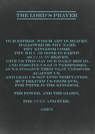 The Loards Prayer hand written on a Chalkboard Stock Photo