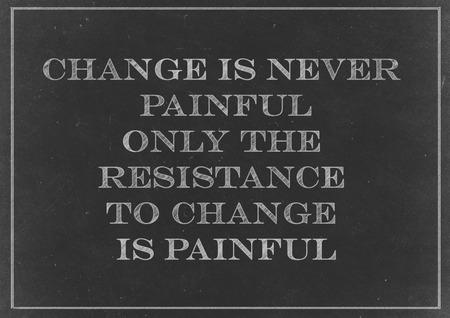 분필 드로잉 - 변화의 개념은 고통스러운 결코 변경할 수있는 유일한 저항은 고통이다 스톡 콘텐츠
