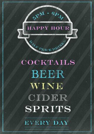 happy hour: Happy hour sign on chalkboard Stock Photo
