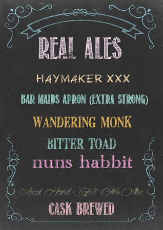 real ale: Chalkboard with REAL ALE  MENU Hand Drawn in Chalks Stock Photo